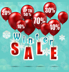 Balloons and discounts on winter sale background vector
