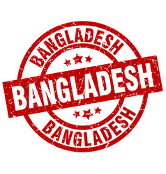 bangladesh red round grunge stamp vector image vector image