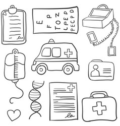 collection of medical object doodle set vector image