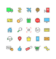 color set icons of e-commerce online shopping for vector image