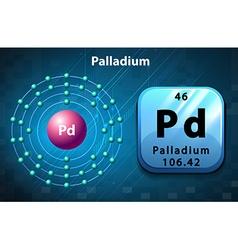 Flashcard of Palladium atom vector image
