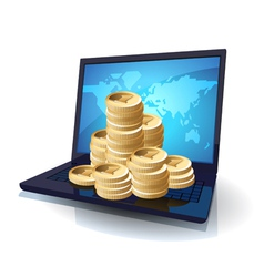 Laptop and money vector image vector image