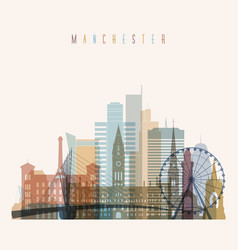 manchester skyline detailed silhouette vector image vector image