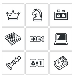Playing chess and modern technology icons set vector image