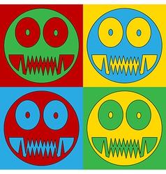Pop art monster icons vector image
