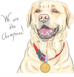 Smiling happy yellow dog breed Labrador Retriever vector image vector image