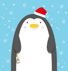 cute big fat penguin wear christmas hat vector image