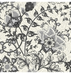 Hand-drawn paisley Flowers and paisley black vector image