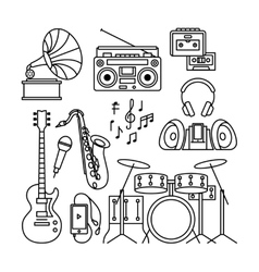 Music instruments thin line icons vector image vector image