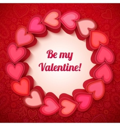 Pink 3d hearts Valentines card vector image