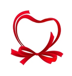 Red heart ribbon bow vector image
