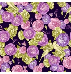 Seamless Rose Background with Birds vector image vector image