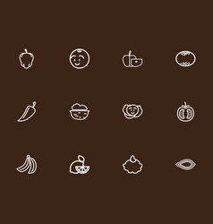 Set of 12 editable vegetable outline icons vector