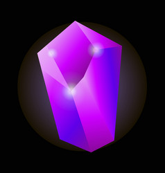 shiny purple natural crystal with luminescent vector image vector image