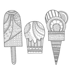 black and white of decorated ice vector image