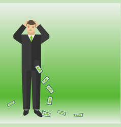 businessman think about the money and lose them vector image