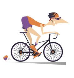 cartoon man rides a bike isolated vector image