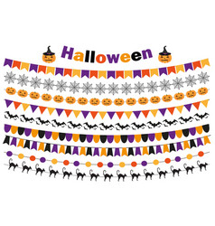 halloween set of festive decorations flags vector image