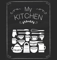 kitchen tools doodle on the black board vector image vector image