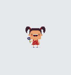 pixel art girl vector image vector image