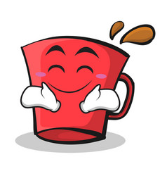 happy face red glass character cartoon vector image vector image