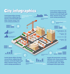 isometric city map industry vector image vector image