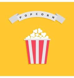 Popcorn box big round wave white ribbon line with vector