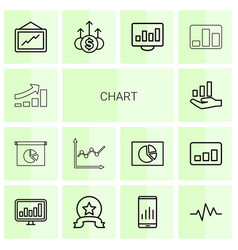 14 chart icons vector image