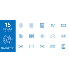 15 newsletter icons vector