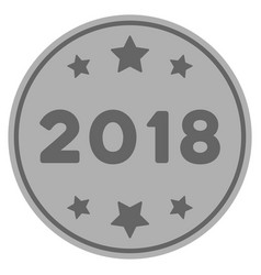 2018 year silver coin vector image