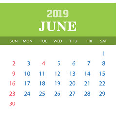 2019 calendar template - june vector image