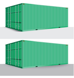 3d perspective green cargo container shipping vector