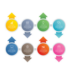 8 circle step infographic with abstract timeline vector