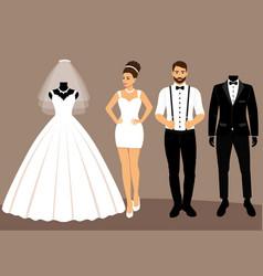 A set of wedding clothes the choice clothes for vector