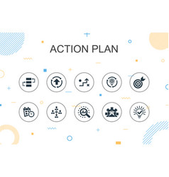 Action plan trendy infographic template thin line vector