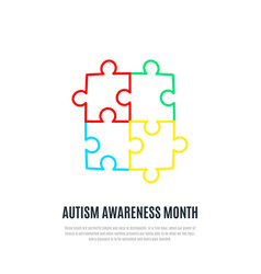 autism awareness month sign colorful puzzle vector image