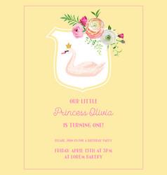 Babirthday invitation card with swan flowers vector