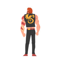 Back view brutal guy character young man vector