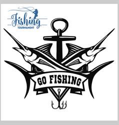 Blue marlin fishing logo vector