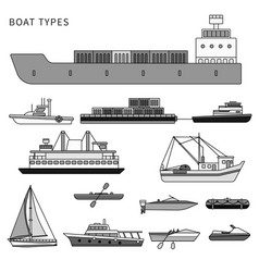 boats and ships on white line monochrome vector image