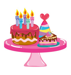 Cakes with party hat in the table birthday vector