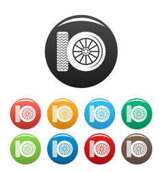 car tire icons set color vector image