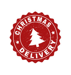 Christmas delivery grunge stamp seal with fir-tree vector