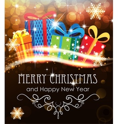 Christmas presents on abstract holiday background vector image