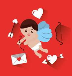 cupid flying with bow arrow mail heart love vector image