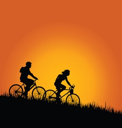 cyclists in nature color vector image