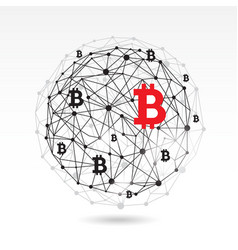 Digital bitcoin crypto currency background vector