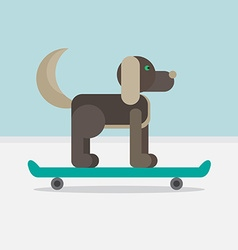 Dog sitting on a skateboard vector image