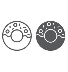 donut line and glyph icon food and sugar cake vector image