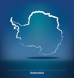 Doodle Map of Antarctica vector image